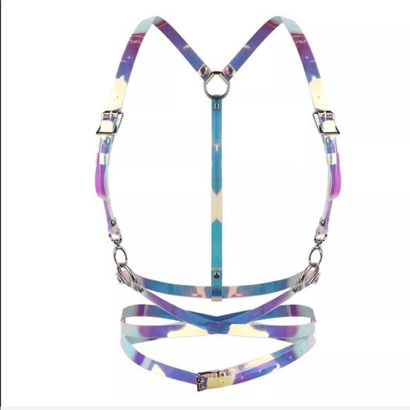 7a3e1760c2bcf2 Hologram body harness belt rave pastel goth punk